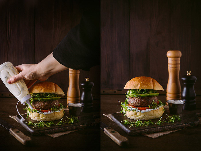 Diptych food photography example of setting up and styling a burger against a dark background
