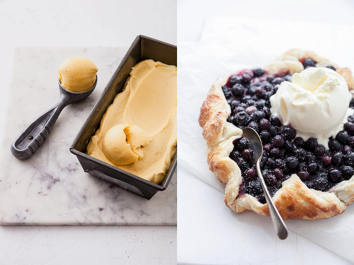 A food blog diptych showing how to style ice-cream for a photo shoot
