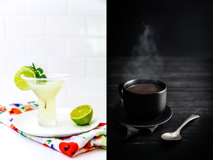 A food photography diptych showing a cold cocktail on white background and a cup of tea on dark background