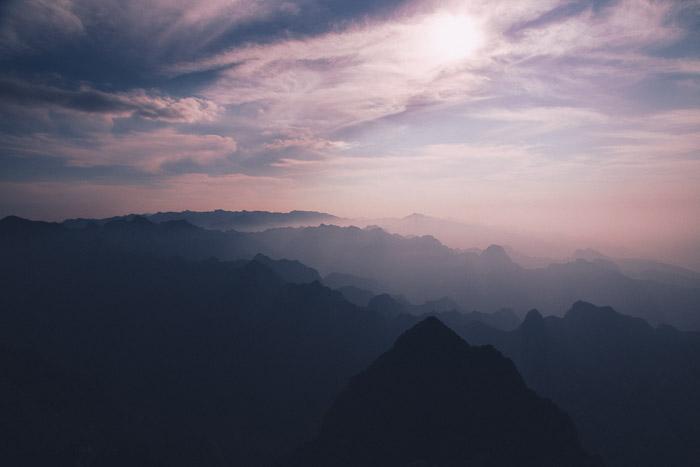 An atmospheric misty mountainous landscape photography shot