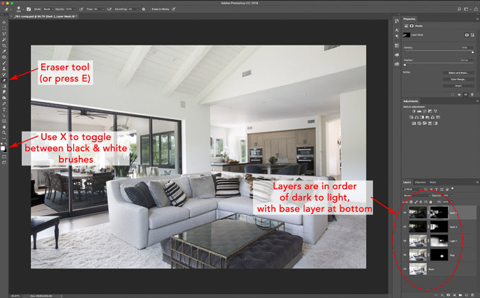 A screenshot of editing a photo of an interior of a living room using HDR for real estate photography