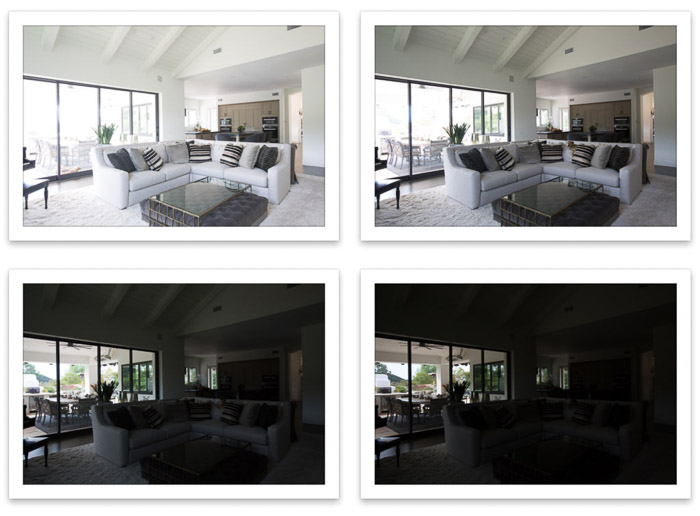 A 4 photo grid of an interior of a living room using HDR for real estate photography