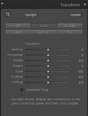 A screenshot of the transform sliders in Lightroom