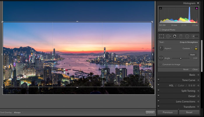 A cityscape open in Lightroom to crop travel photos