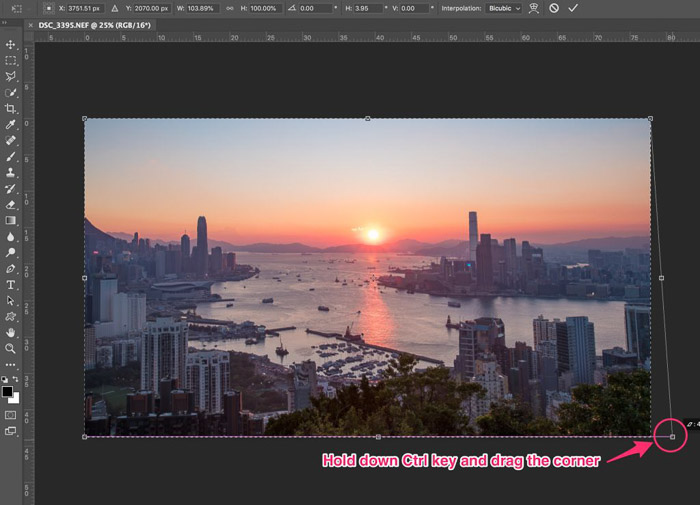 A screenshot of choosing the transform tool for cropping photography in Photoshop