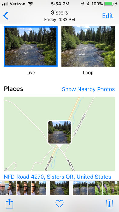 A screenshot of using the iphone map to scout landscape photography locations