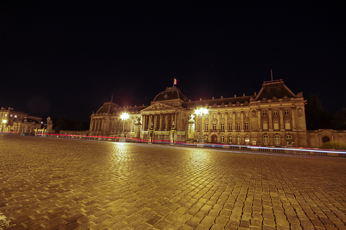 The Palais Royale in Brussels at night