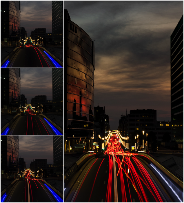 A 3 photo grid example of image stacking with light trails.
