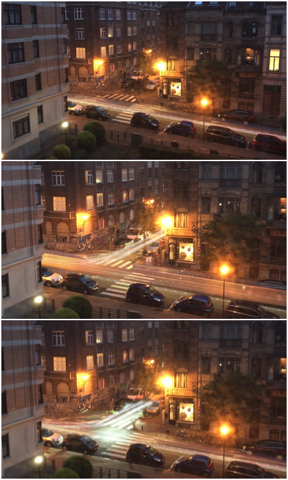 Triptych of late night light trails outside a building