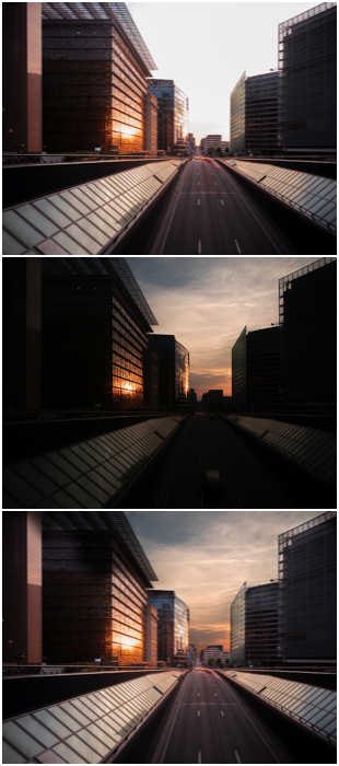 A cityscape triptych ND filter to improve the sky when capturing light trails at dusk.