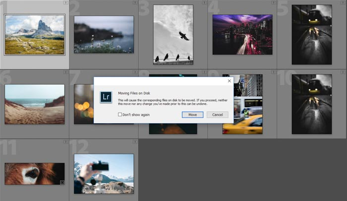 A screenshot showing file structure & organisation during Lightroom workflow
