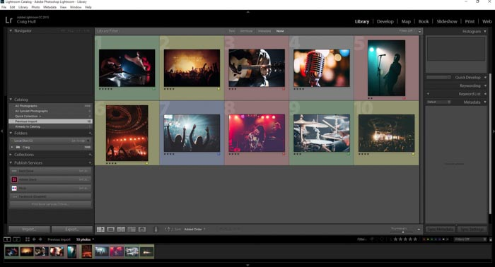 A screenshot showing file structure & organisation within Lightroom CC workflow