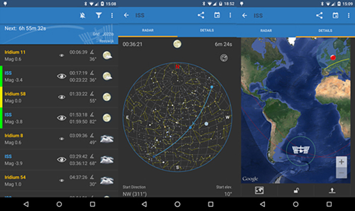 A screenshot of 'ISS Detector' Best Landscape Apps for milky way notifications