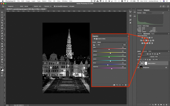 Editing a black and white photo in Lightroom to adjust the luminosity and contrast