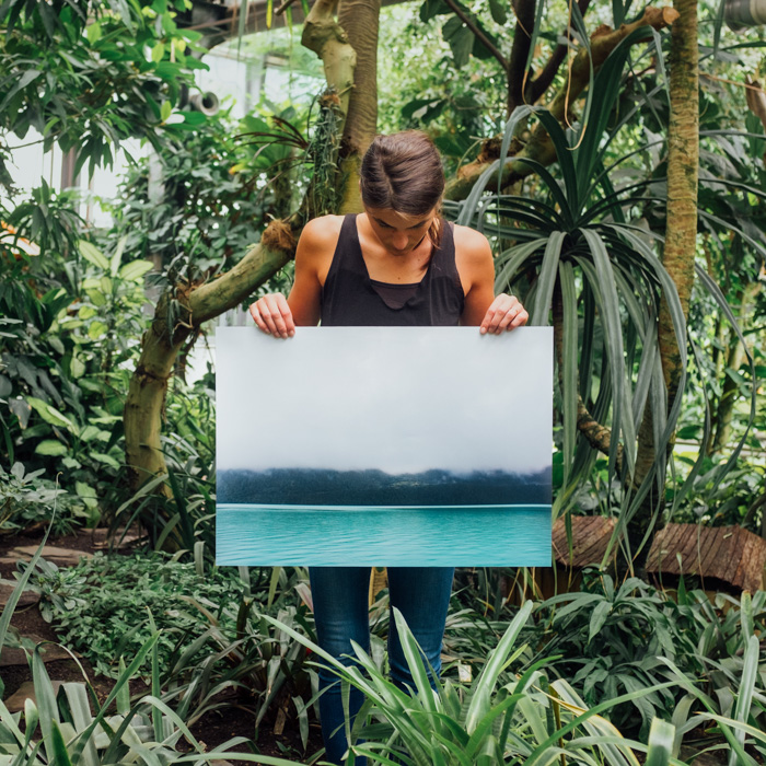 A man standing in a tropical forest setting holding up a large sized photo printing paper