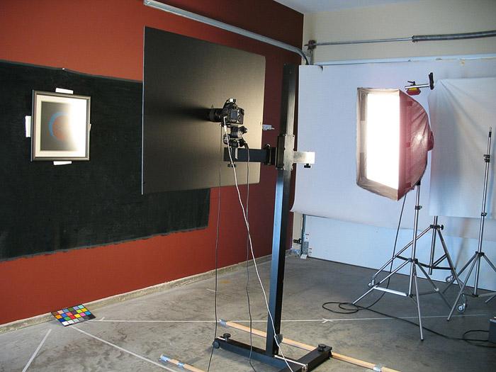 Studio lighting setup for photographing artwork