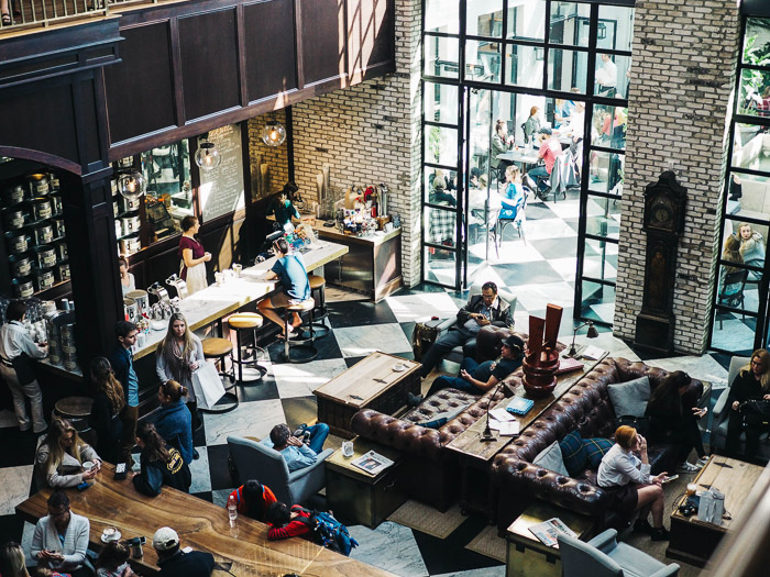 Overhead shot of a busy cafe