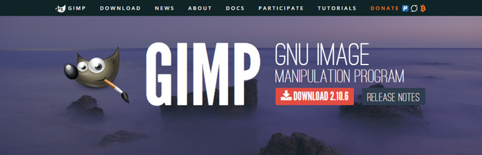 A screenshot of GIMP homepage