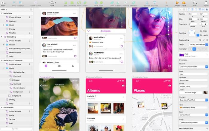 A screenshot of editing photos on sketchapp Photoshop alternatives