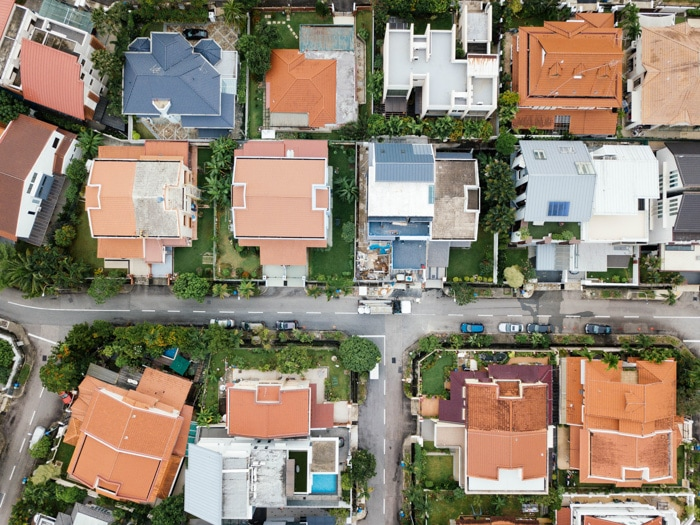 Overhead aerial view of a housing estate