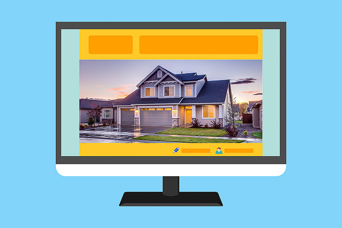 An image of a computer showing a real estate photos website