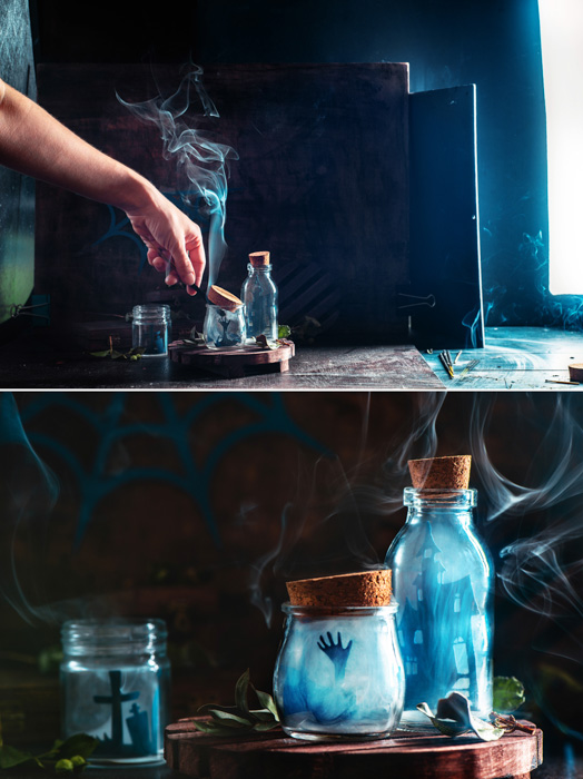 A set-up for a still life smoke photography shot featuring glass bottles with the silhouettes of tiny cut out characters inside and smoke billowing out