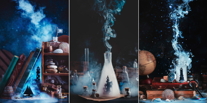 Atmospheric and mystical still life photography triptych featuring tiny cut out characters with smoke billowing around
