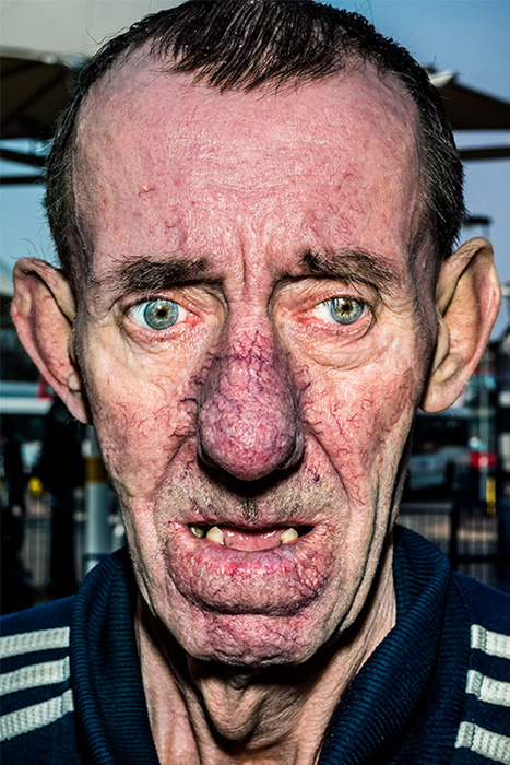 a Bruce Gilden portrait of a man - types of street photography