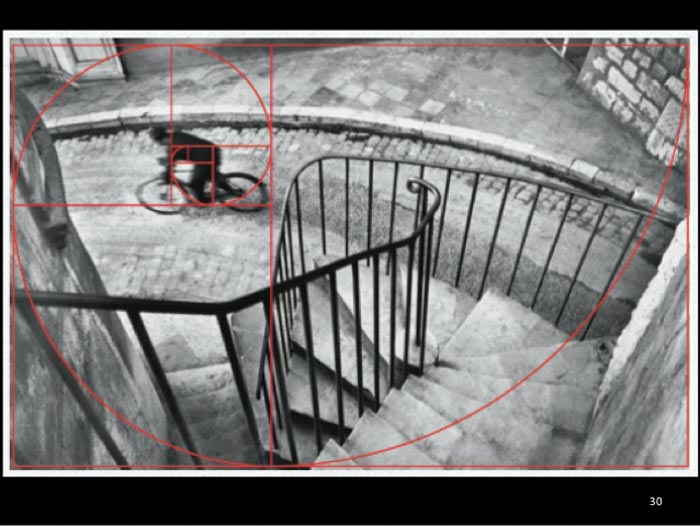 A Henri Cartier-Bresson photo of a man on a bike, with the golden ratio composition grid overlayed