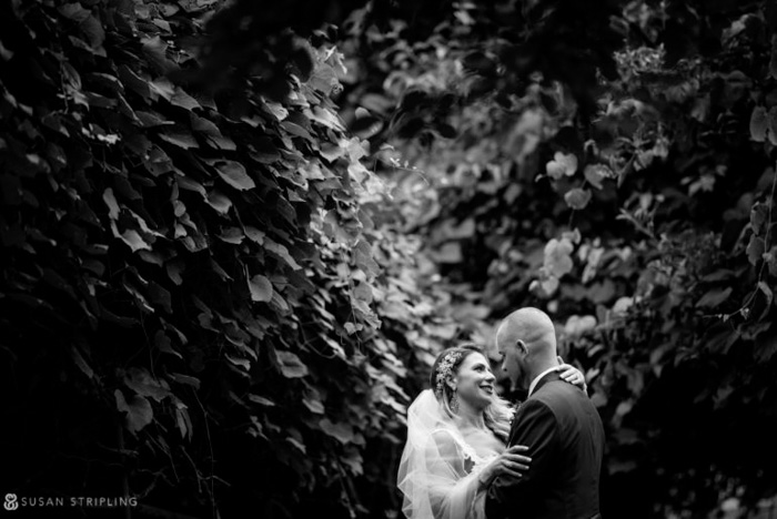 A beautiful black and white portrait of newlyweds by Susan Stripling Photography
