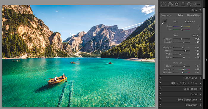 A screenshot showing how to use Lightroom presets on a landscape image
