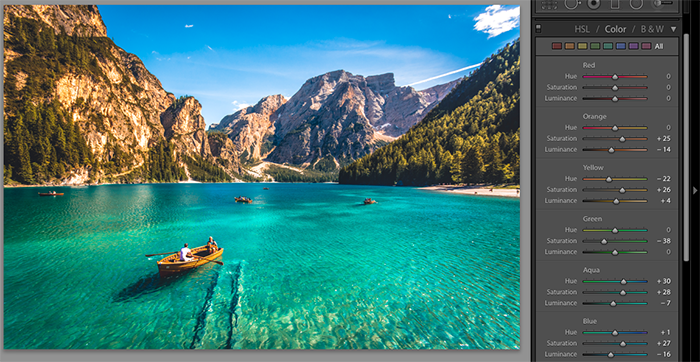 A screenshot showing how to add Lightroom presets on a landscape image
