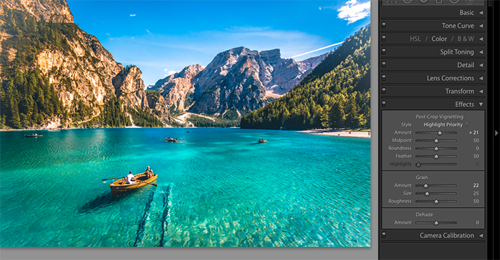 A screenshot showing how to use Lightroom presets using effects