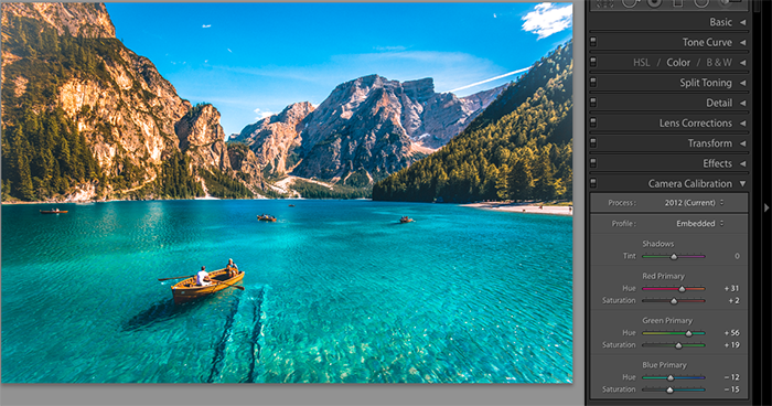 A screenshot showing how to save Lightroom presets - camera calibration