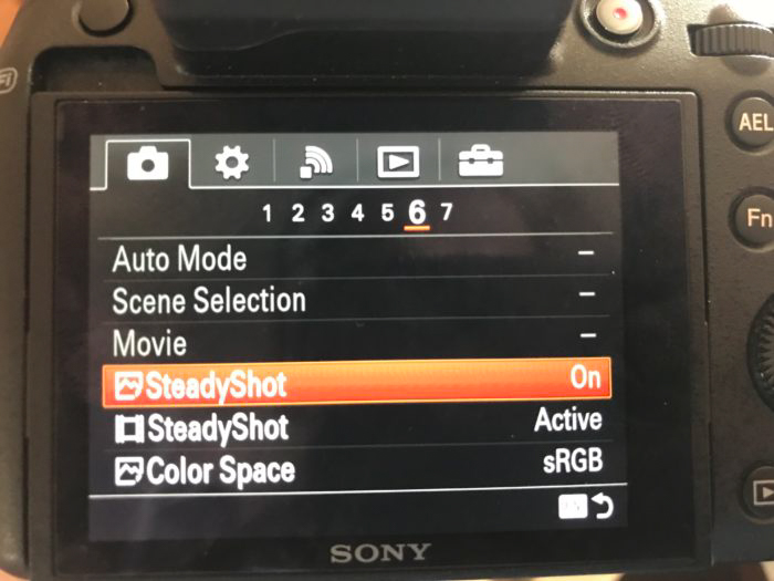 camera screen showing image stabilisation settings