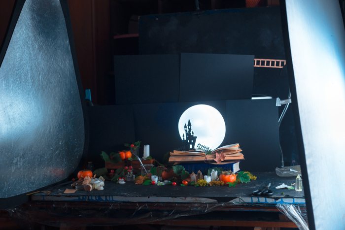 Set up for photography a spooky castle silhouette