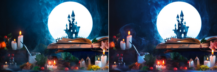 A still life featuring a spooky castle silhouette, a full moon, candles and other spooky props - cool halloween pictures