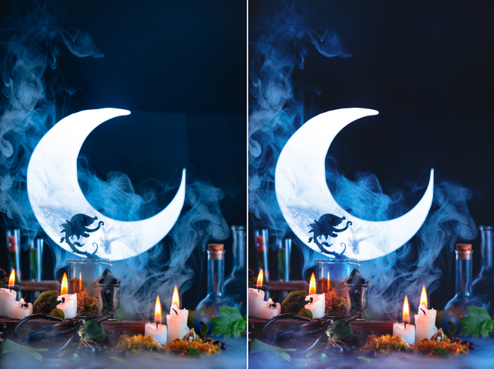 A still life featuring a spooky plant silhouette, a crescent moon, candles and other spooky props - cool halloween pictures