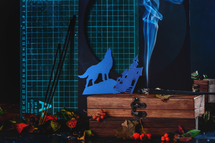 Materials needed for a spooky Halloween photography still life