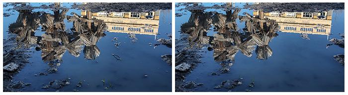 Antes e depois de usar a ferramenta de correção no photoshop