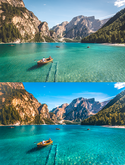 A beautiful mountainous seascape diptych, showing the before and after effects of using Lightroom presets