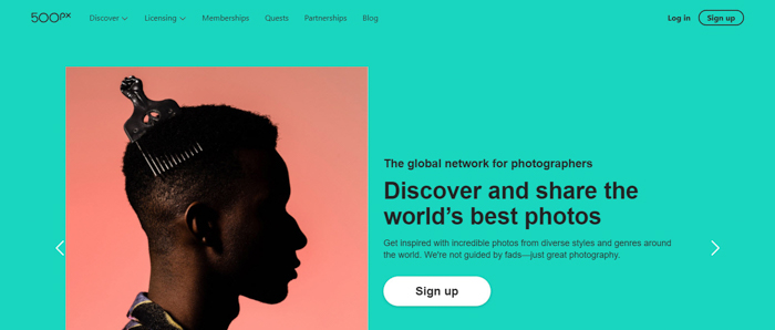 Screenshot of 500px website for photographers