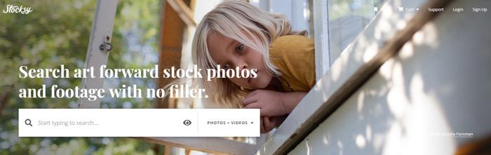 Screenshot of Stocksy website homepage
