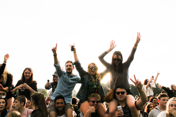 A group of people enjoying a festival