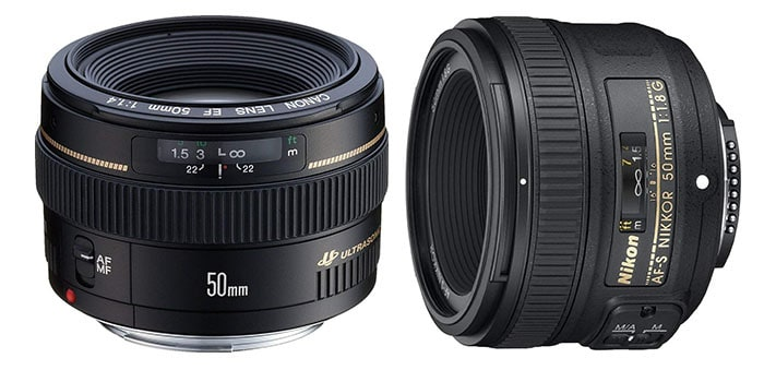 Two examples of a standard best lens for portrait photography on white background