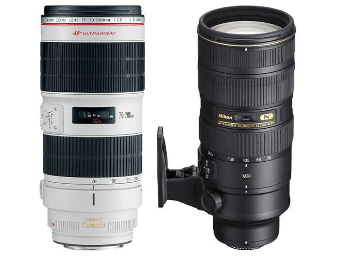 Two telephoto lenses for portrait photography on white background