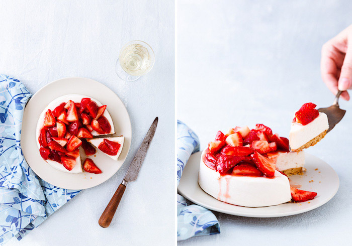 Diptych of a fruity dessert on light background