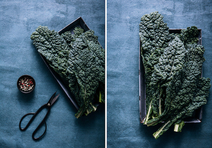 Diptych food photography of kale on a blue background