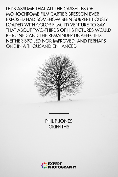 A silhouette of a tree against white snowy landscape with black and white photography quote by Philip Jones Griffiths