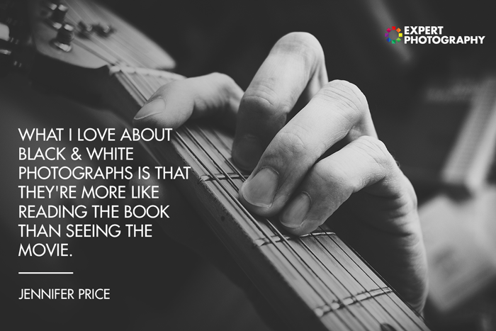 A close up photo of the silhouette of a person playing guitar with black and white quote from Jennifer Price